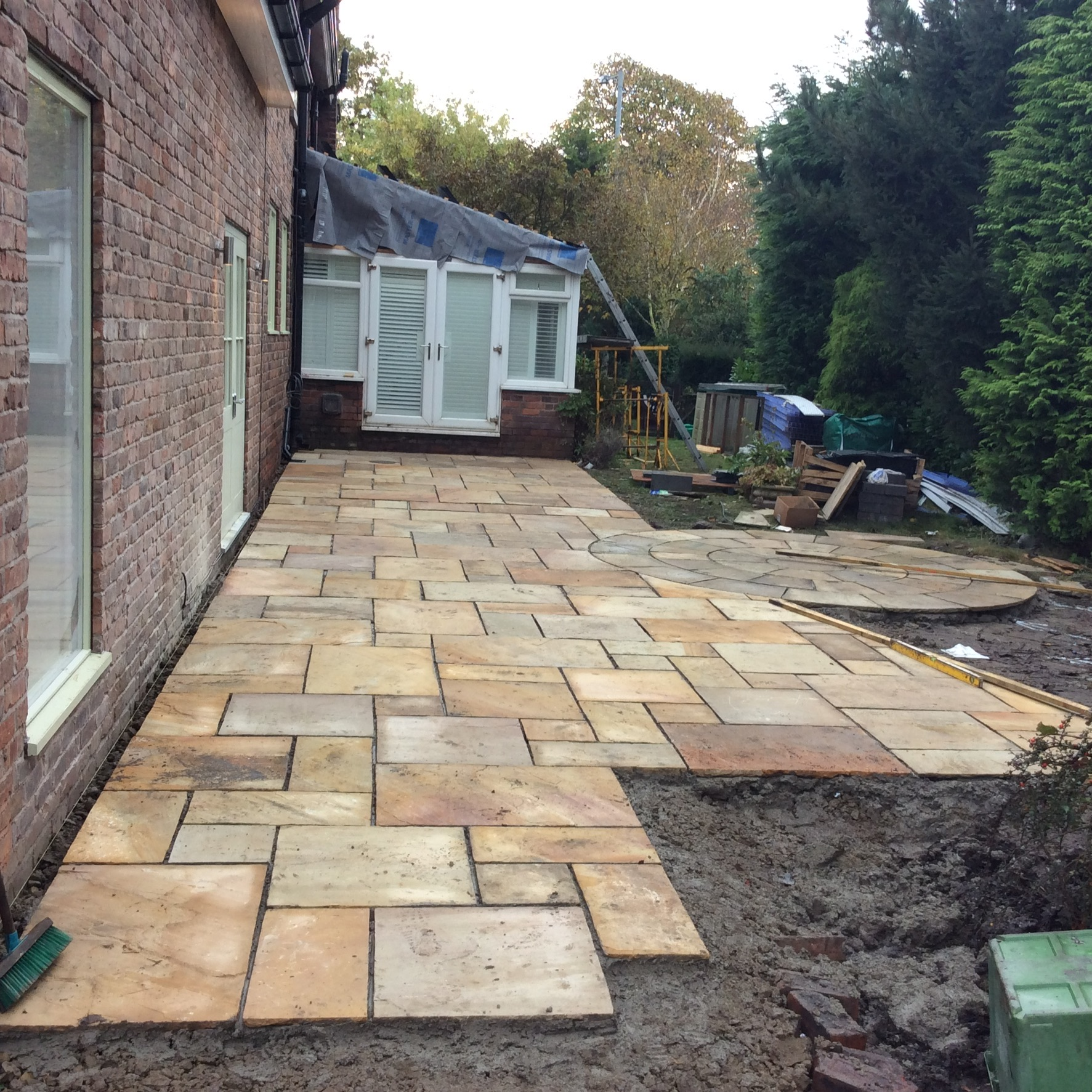 Installation Of New Indian Stone Patio In Burscough, Ormskirk. Lancashire.  We Are Specialist In All Types Of Patios , Paving And Driveways.