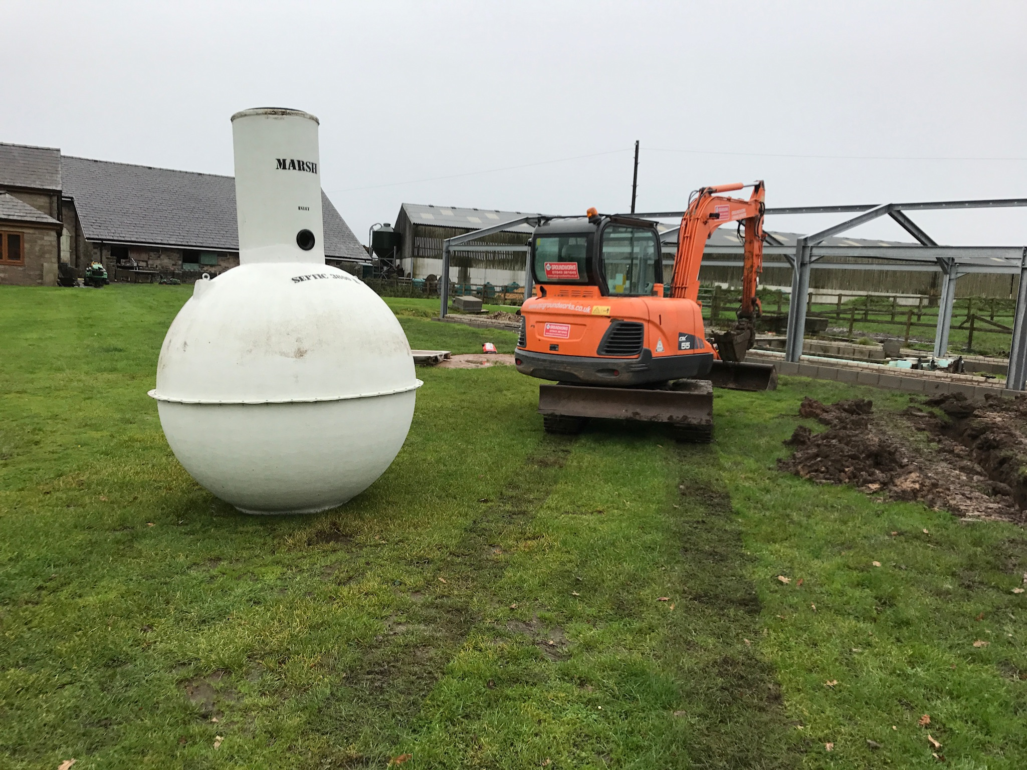 Brick Septic Tank Replacement With New Fiberglass Septic